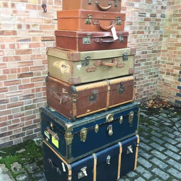Graduated Stack Of Antique Trunks & Cases2