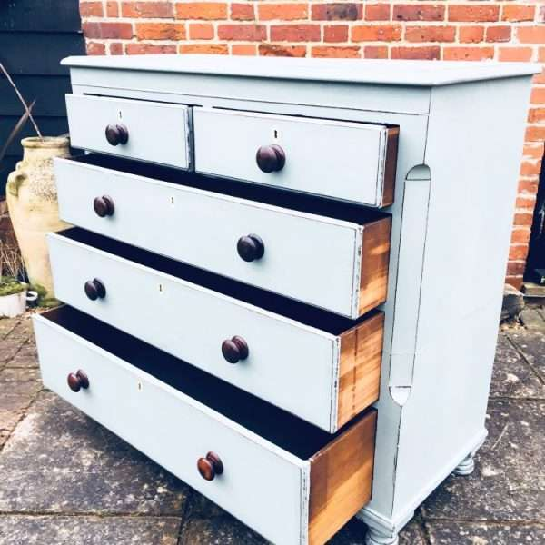Mid Victorian Painted Mahogany Chest Of Drawers4