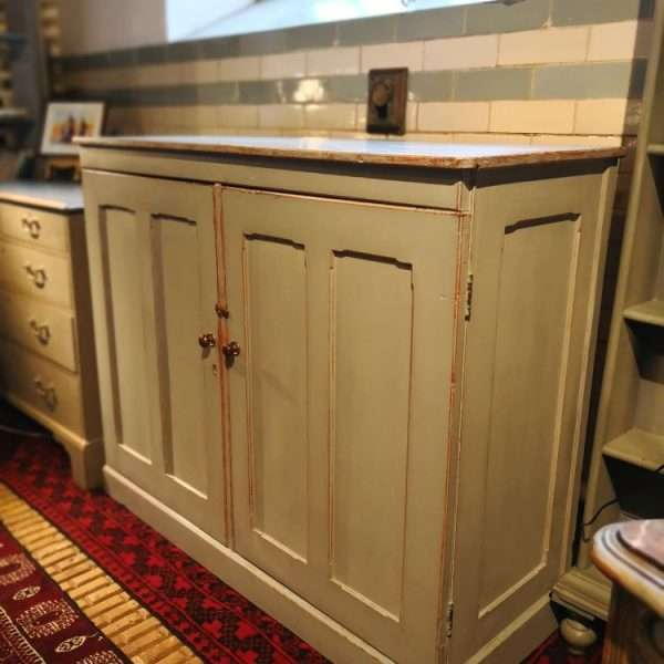 Mid 19th Century Painted Pine Linen Cupboard2