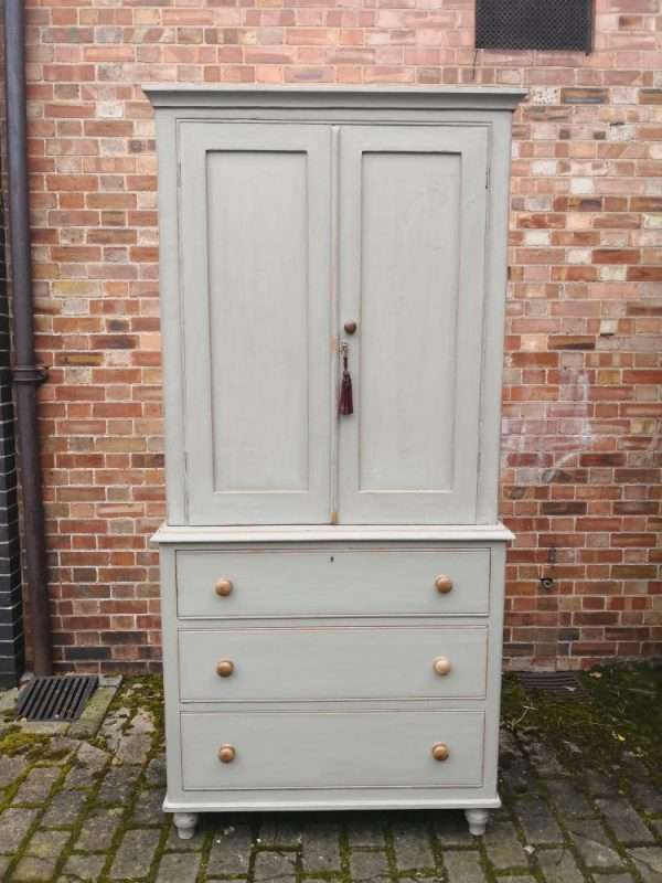 Late Victorian Painted Pine Linen Cupboard SOLD – Ref:1395
