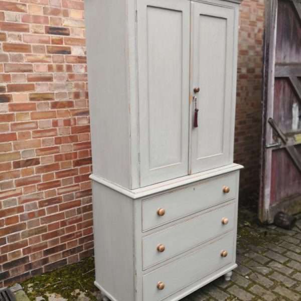 Late Victorian Painted Pine Linen Cupboard1