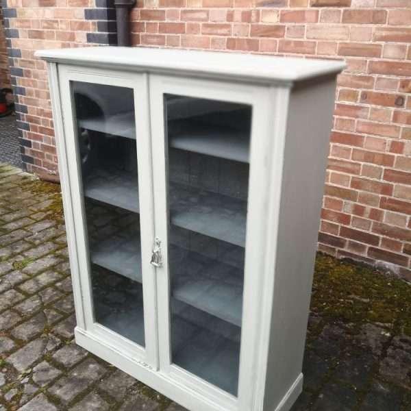 Edwardian Painted Mahogany Glazed Bookcase2