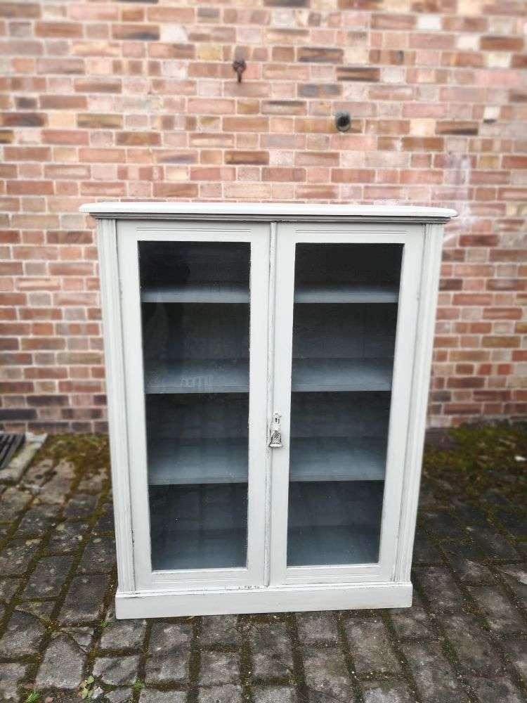 Edwardian Painted Mahogany Glazed Bookcase3