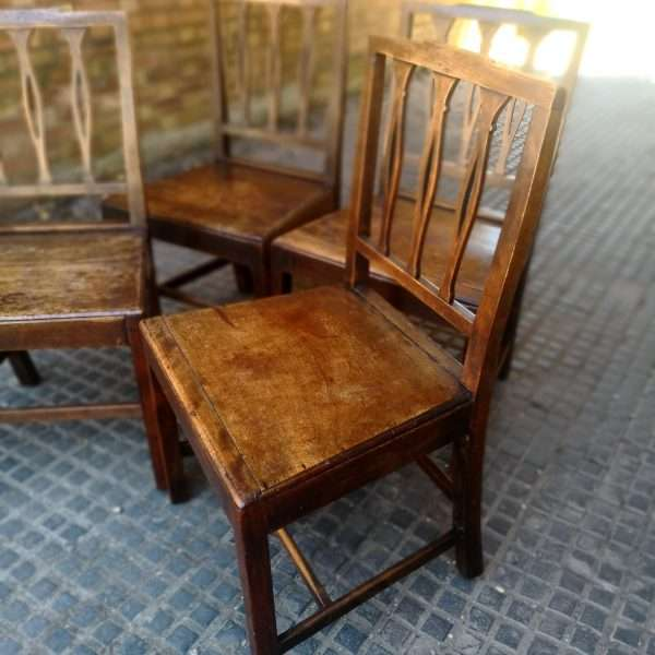 19th Century Set Of 4 Elm Country Chairs2