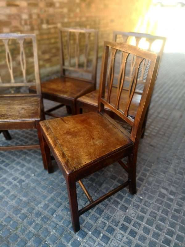 19th Century Set Of 4 Elm Country Chairs SOLD – Ref:1409