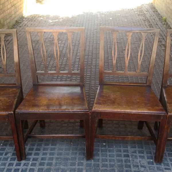 19th Century Set Of 4 Elm Country Chairs3