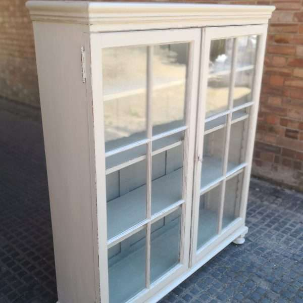 Victorian Painted Pine Glazed Bookcase1