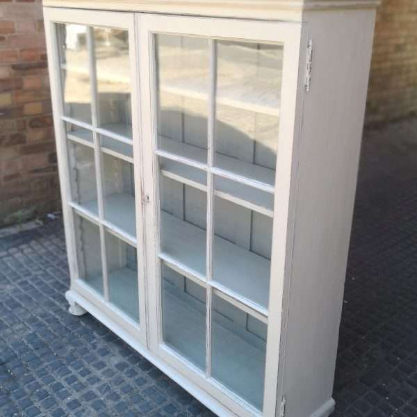 Victorian Painted Pine Glazed Bookcase2