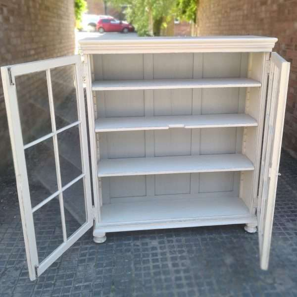 Victorian Painted Pine Glazed Bookcase3