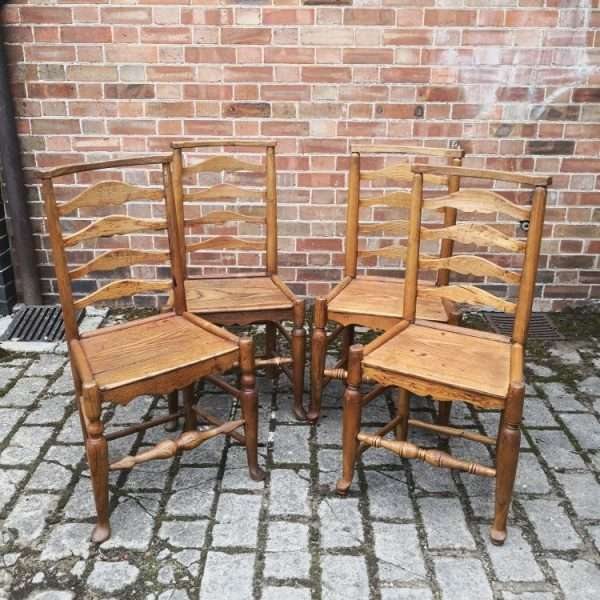 Set Of 4 Oak North Country Ladderback Chairs3
