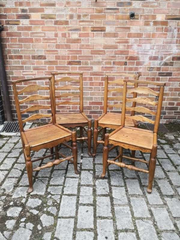 Set Of 4 Oak North Country Ladder back Chairs SOLD – Ref:1425