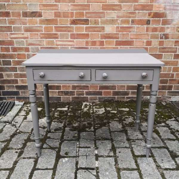 19th Century Painted Mahogany Two Drawer Writing Desk2
