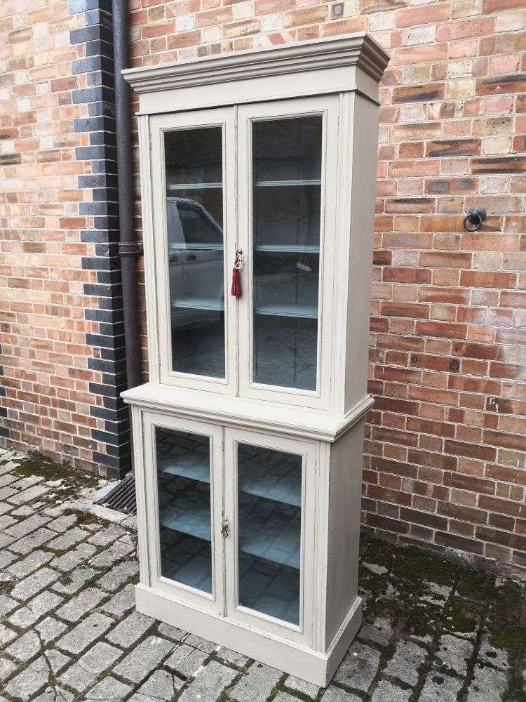 Edwardian Painted Walnut Double Glazed Cabinet2