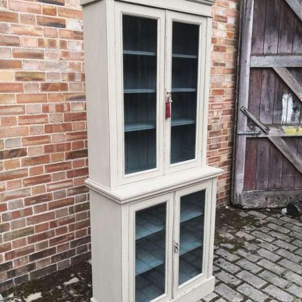 Edwardian Painted Walnut Double Glazed Cabinet1