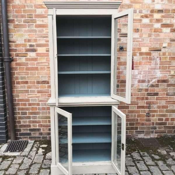 Edwardian Painted Walnut Double Glazed Cabinet