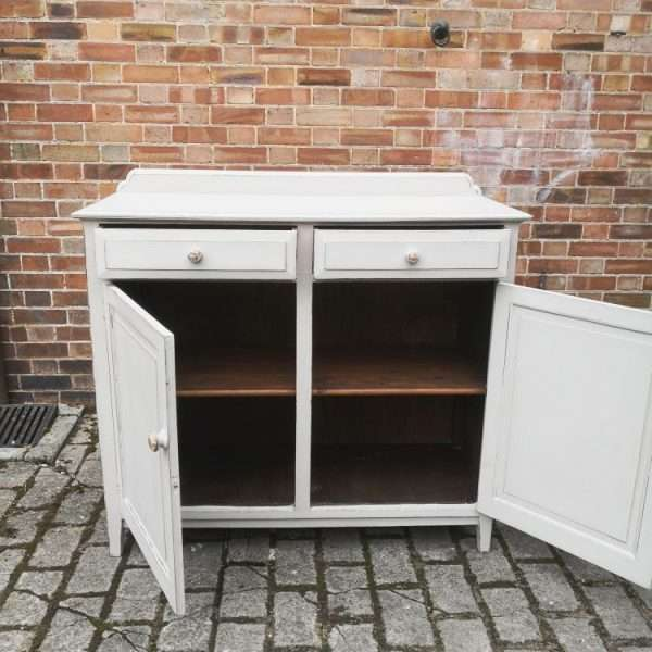 Edwardian Painted Oak Cottage Dresser Base1