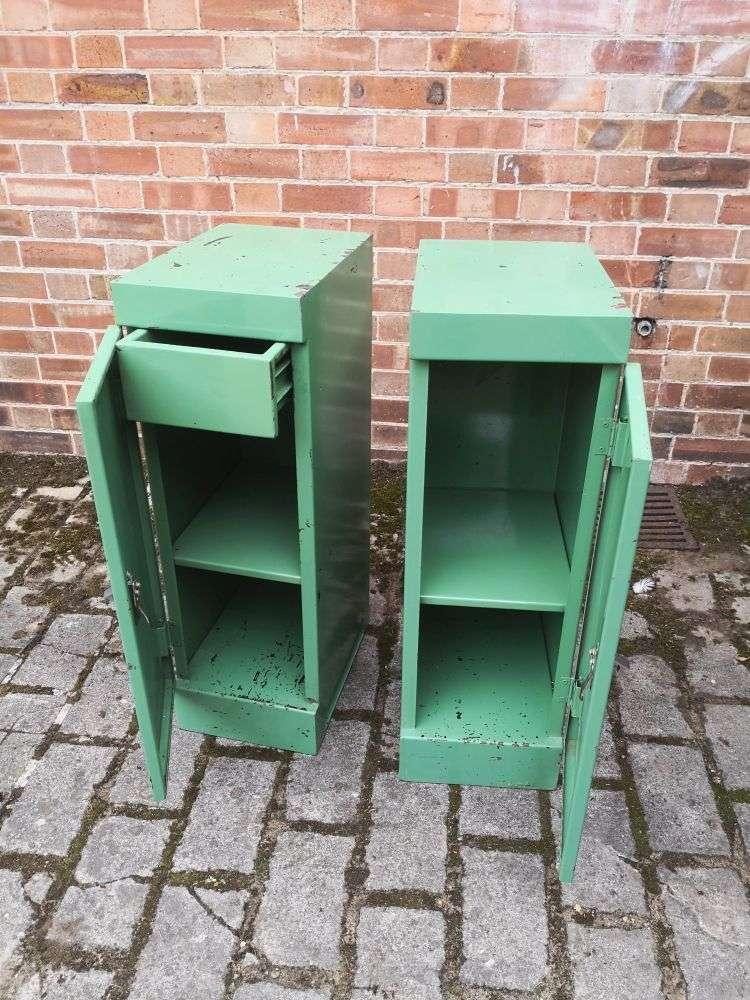 Pair Of Vintage Industrial Bedside Cabinets 1