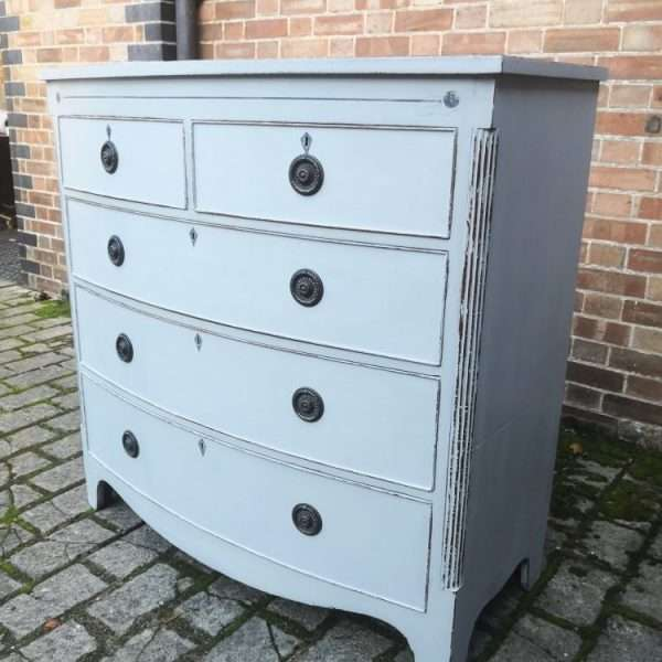 William IV Painted Mahogany Bow Front Chest2