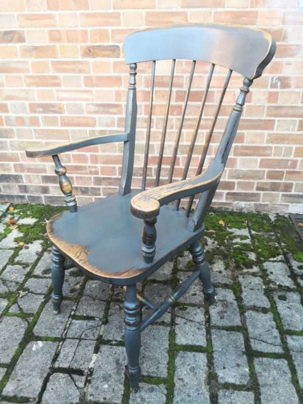 Late 19th Century Painted Elm Grandfather Chair £145 – Ref:1440
