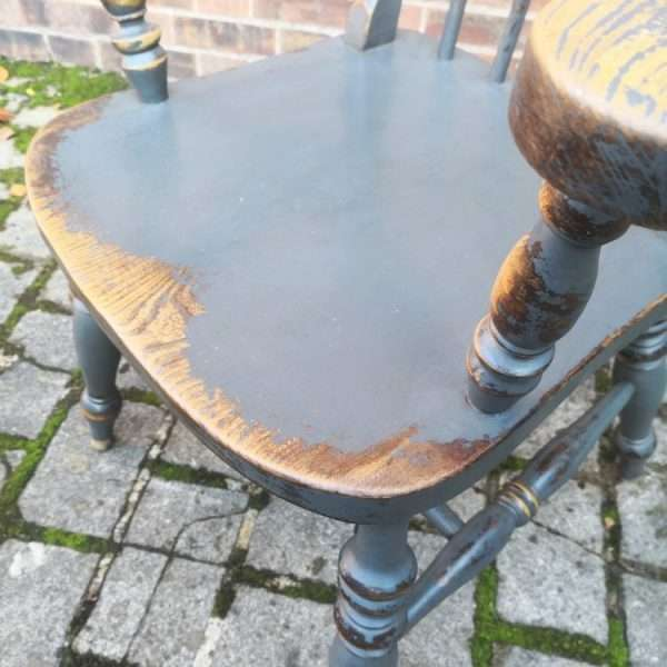 Late 19th Century Painted Elm Grandfather Chair3