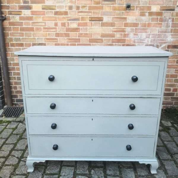 Early 19th Century Painted Mahogany Lancashire Blanket Chest