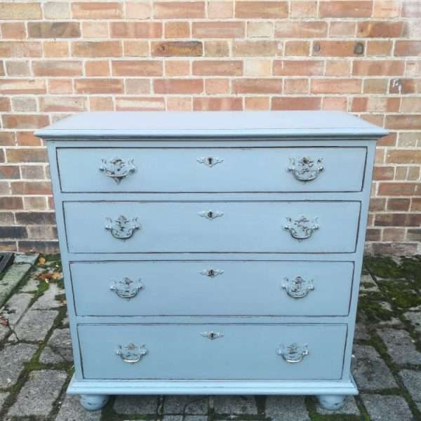 Queen Anne Style Painted Oak Chest Of Drawers